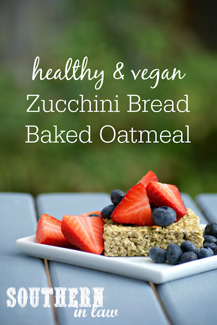 Healthy Vegan Zucchini Bread Baked Oatmeal Recipe - Baked Zoats - Clean eating recipe, gluten free, low fat, egg free, nut free, vegan,  dairy free, hidden serve of vegetables