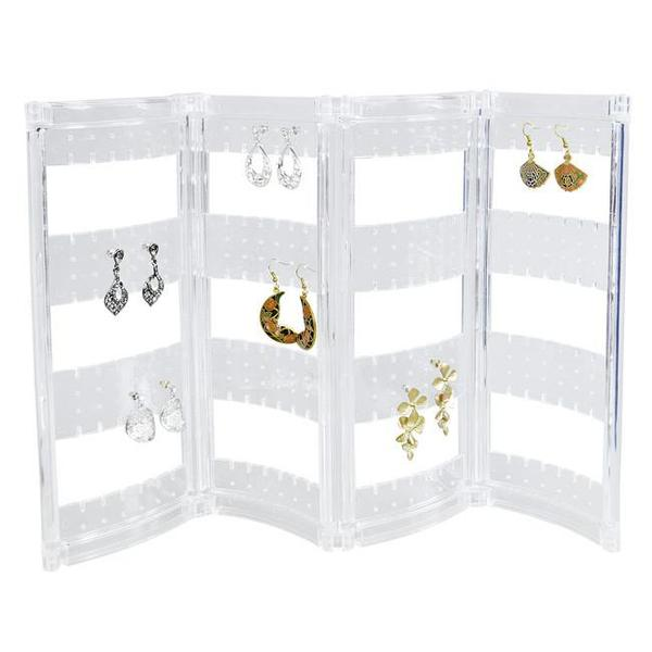 Shop for a foladble acrylic earring jewelry display and storage stand.