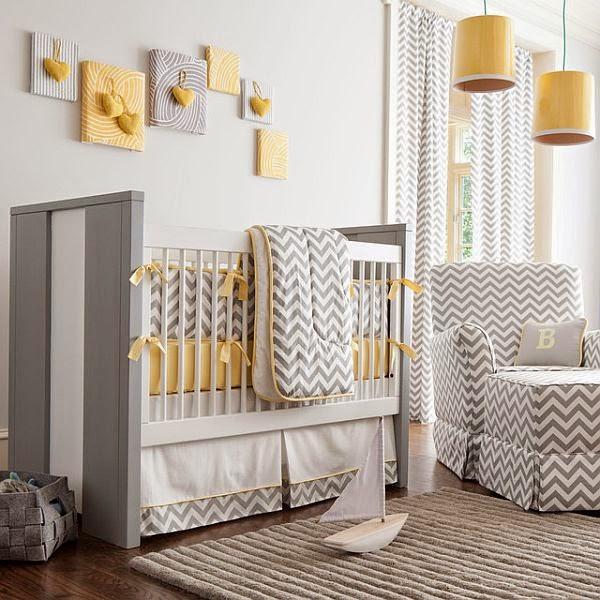 dormitorio bebé gris amarilllo