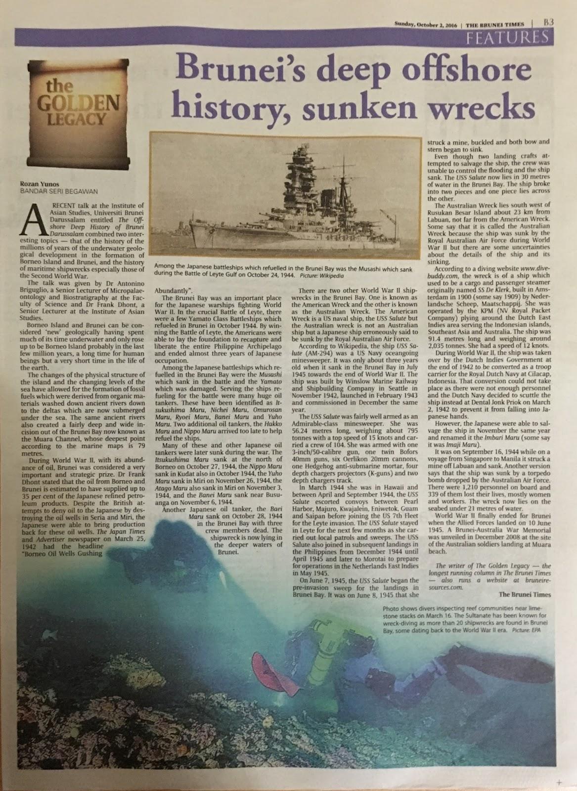 Brunei's Deep Offshore History, Sunken Wrecks
