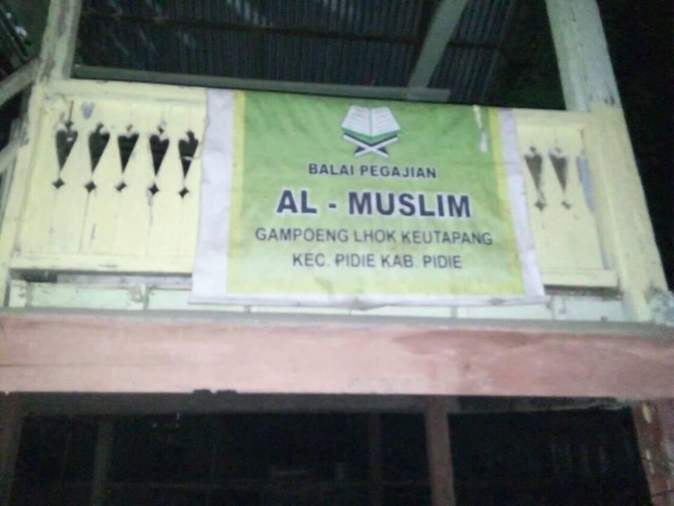 LPD Ajak Rehap/Bangun Balai Pengajian Al-Muslim Santri 40  hanya mengunakan Teras Rumah,Pidie