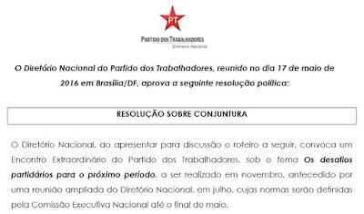 Resolução Sobre Conjuntura do PT: confissões totalitárias e autocríticas para sobreviver