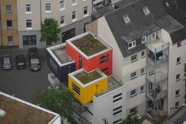 Rheinturm Dusseldorf colored cubes