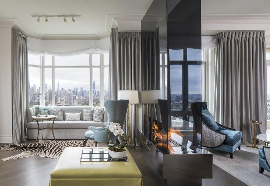 At The Opposite End Of Formal Living Area Sits Additional Seating With Breathtaking Views Chicago City Skyline Furniture Selection Is