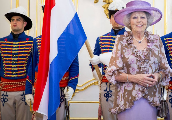 Princess Beatrix visits President Andrej Kiska of Slovakia at the presidential palace in Bratislava