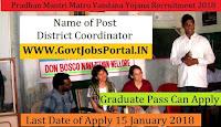 Meghalaya Pradhan Mantri Matru Vandana Yojana Recruitment 2018 – 24 District Coordinator