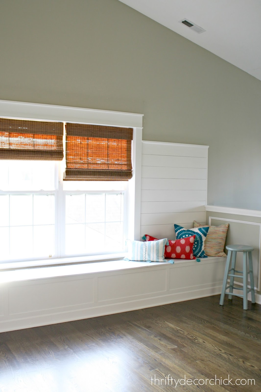 Finished window seat, ship lap walls and craftsman trim in ...