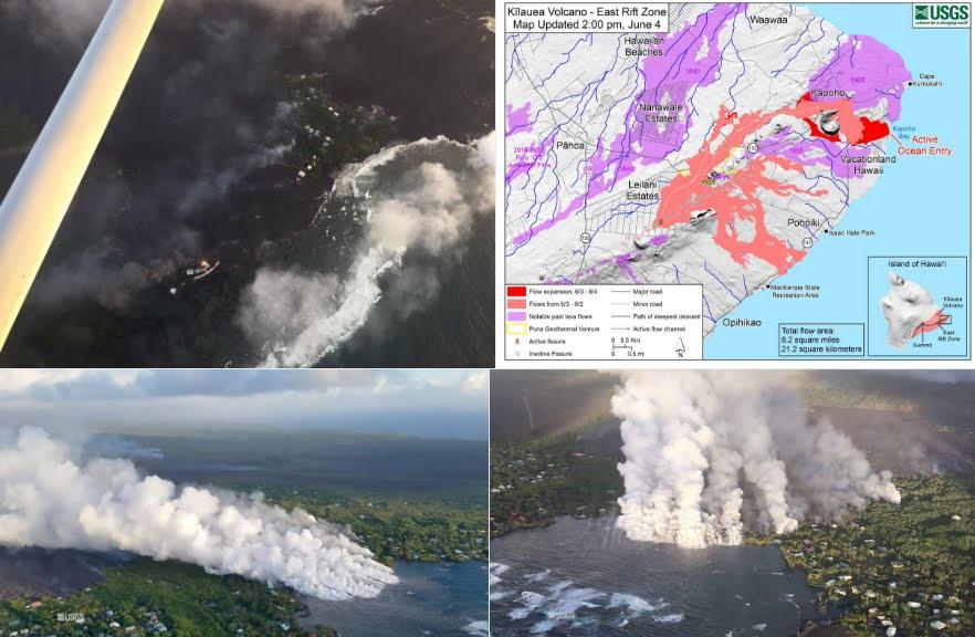 Spettacolari e devastanti immagini della lava del vulcano Kilauea nelle Hawaii