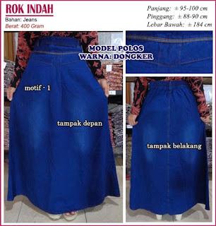 rok jeans polos - rok indah motif 1