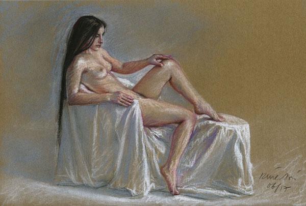 René Bui - Etude de nu au pastel sec - Femme assise aux longs cheveux noirs