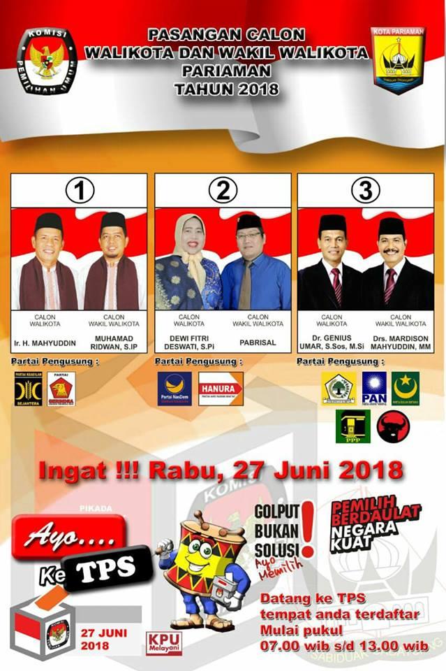 KPU Rilis APK Pasangan Calon Walikota dan Wakil Walikota Pariaman 2018