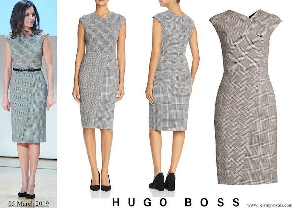 Queen Letizia wore Hugo Boss Dechesta Glen Check Stretch Cut Cap Sleeve Sheath Dress