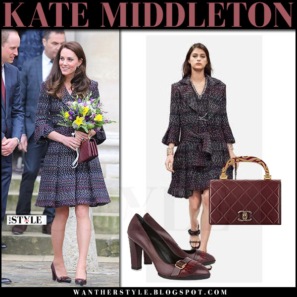 Kate Middleton in printed chanel coat and burgundy pumps tods what she wore paris march 2017