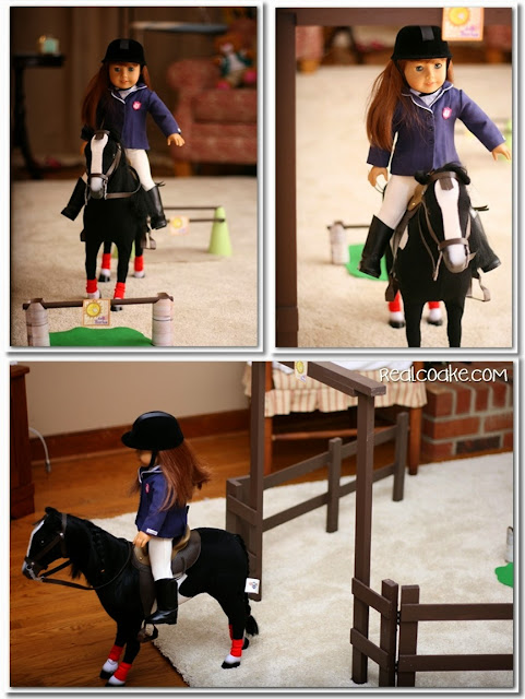 American Girl Doll Horse Show with American Girl crafts to make show jumping jumps for the doll's horses. #AGDoll #AmericanGirlDoll #Crafts #Horses #RealCoake