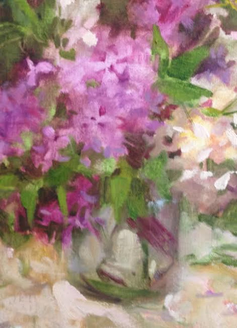 lilac, cherry blossoms, oil painting for sale by Margaret Aycock, Tulsa, OK