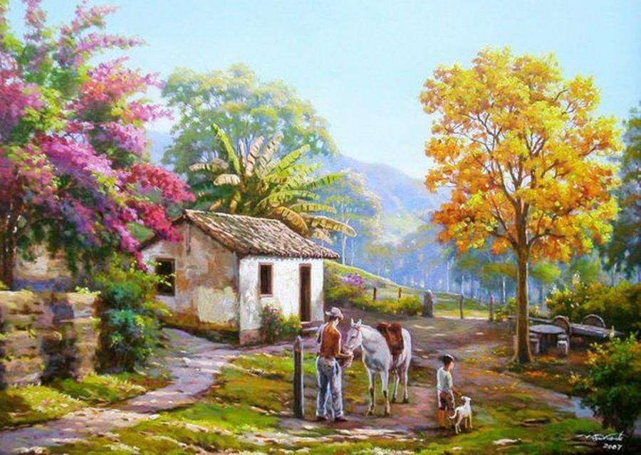 Cuadros modernos pinturas y dibujos cuadros campesinos for Sfondi primaverili