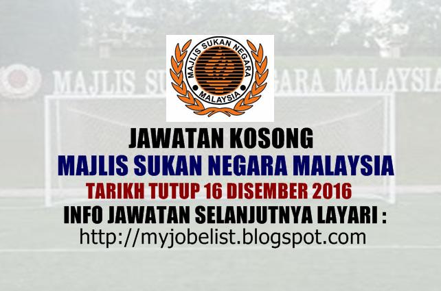 Jawatan Kosong di Majlis Sukan Negara Malaysia Disember 2016