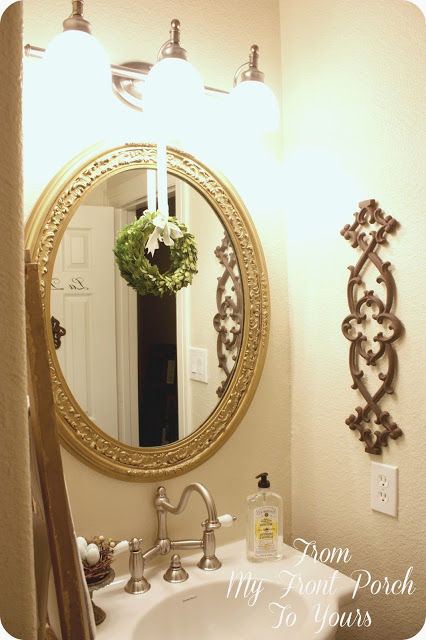 French-farmhouse-half-bath-makeover-vintage mirror