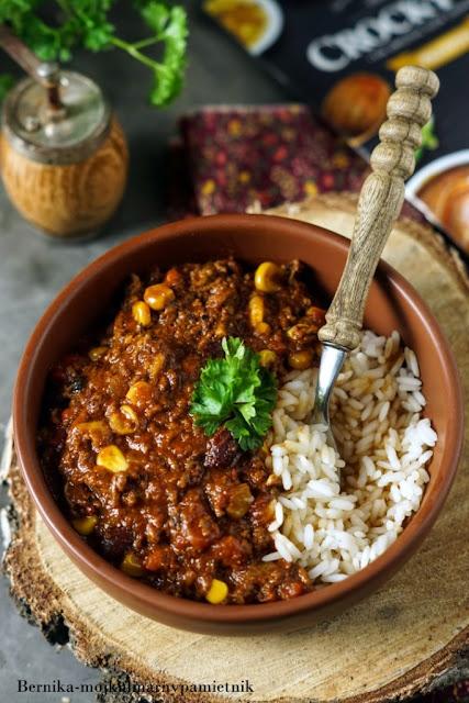 chilli con carne, chilli,wolnowar, mieso mielone, wolowina, obiad, bernika, kulinarny pamietnik