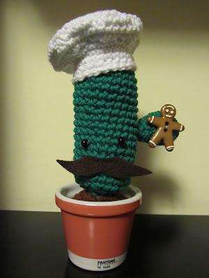 Cactus chef de amigurumi