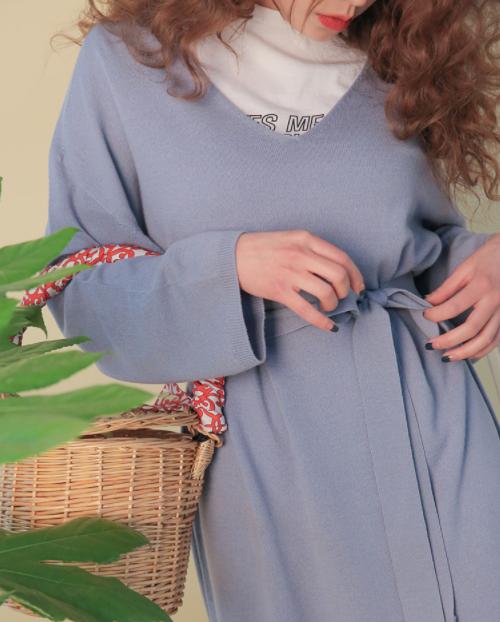 Self-Tie Belt V-Neck Dress