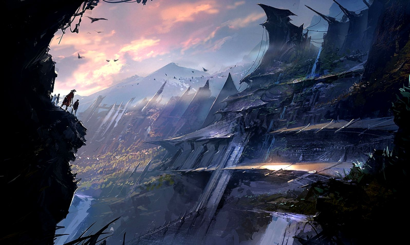 Fantasy Art Castle City In Mountains Plateu
