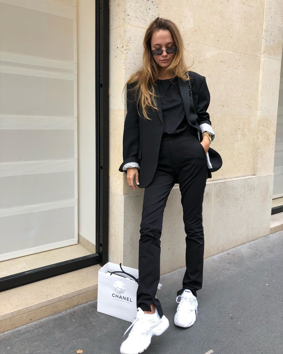 I Love This All-Black Outfit With a Sporty Twist
