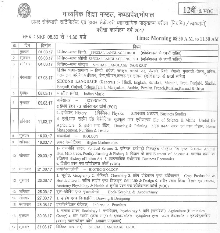Madhya Pradesh 12th Class Exam Time Table 2017