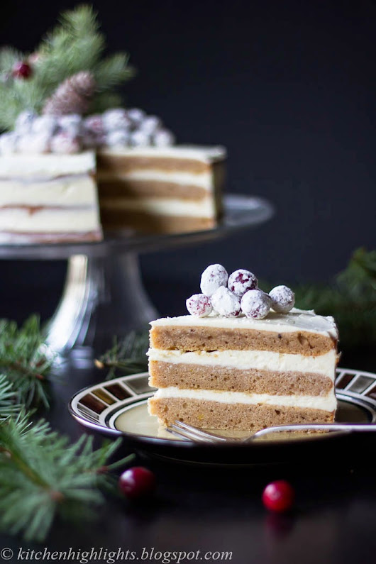 Gingerbread Cake with Cream Cheese Frosting and Candied Cranberries - Holiday Inspired Birthday Cake!