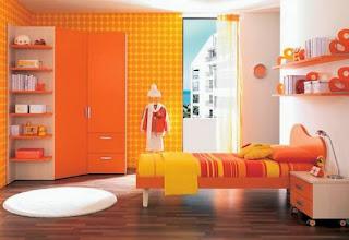 Dormitorio naranja amarillo
