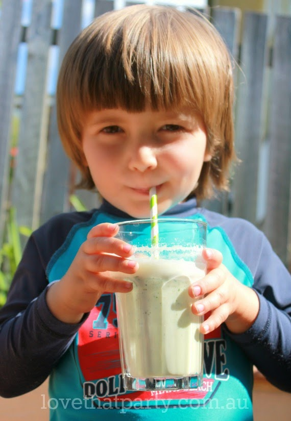 Banana & Parsley Soy Smoothie - a surprisingly good flavour combination. A healthy food idea for kids at Love That Party. www.lovethatparty.com.au