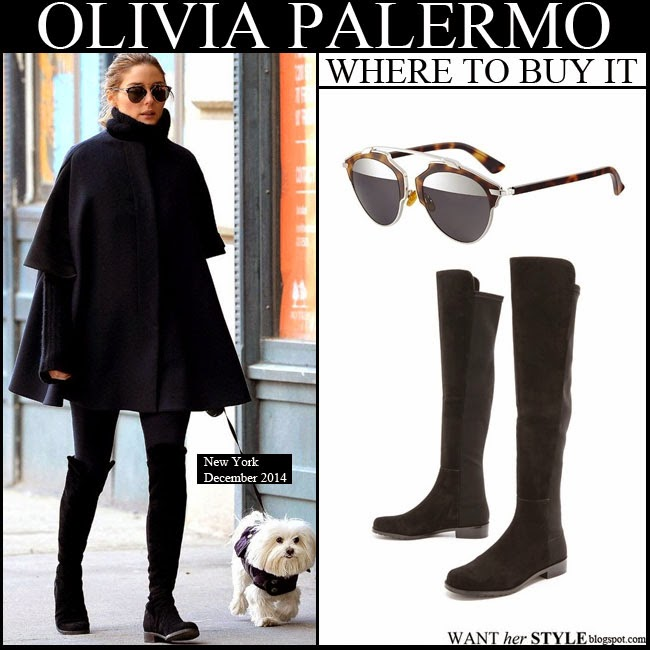 05caacff0ad WHAT SHE WORE  Olivia Palermo in black cape coat with black suede ...