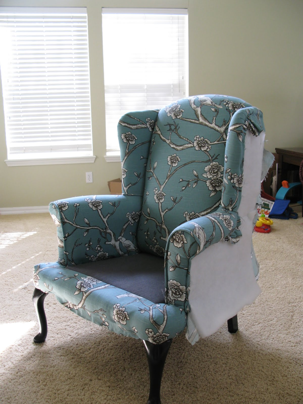 Diy Sofa Reupholstering Leather Conditioner Reviews Modest Maven Vintage Blossom Wingback Chair