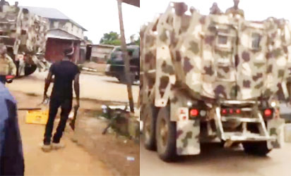 [VIDEO] Again, Army Invades Nnamdi Kanu's home with armored tanks