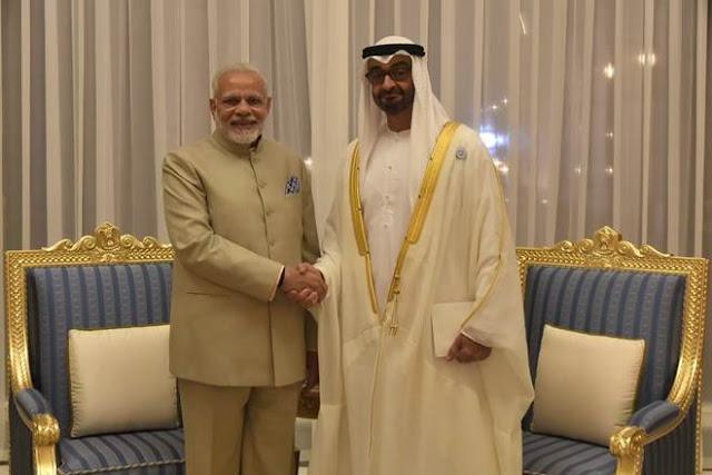 भारत यूएई के बीच पांच समझौतों पर हस्ताक्षर, मोदी ने की अबूधाबी के शहजादे से मुलाकात