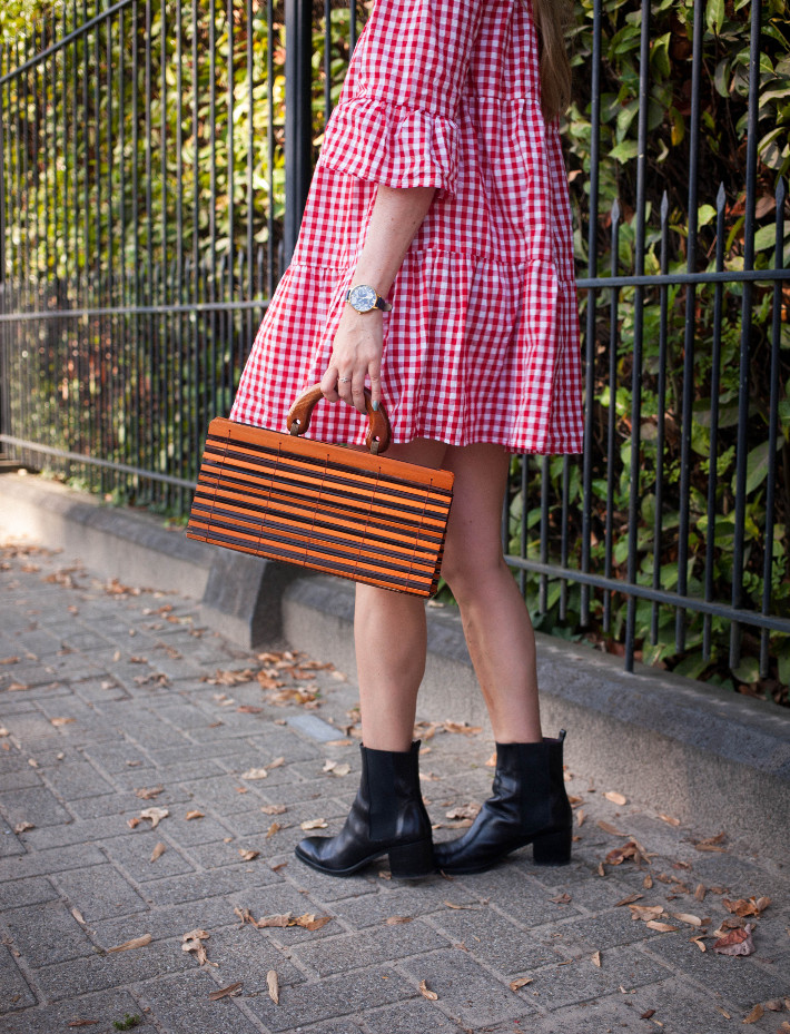 Outfit: gingham babydoll, chelsea boots and bamboo bag