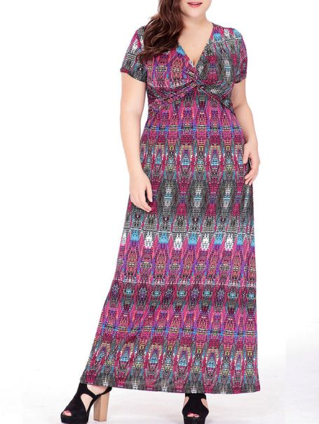 Deep V-Neck Tribal Printed Empire Plus Size Maxi Dress -Flash Sale (Extra 10% Off): US$31.46