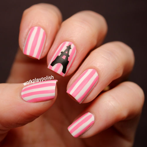 Paris Striped Nail Art