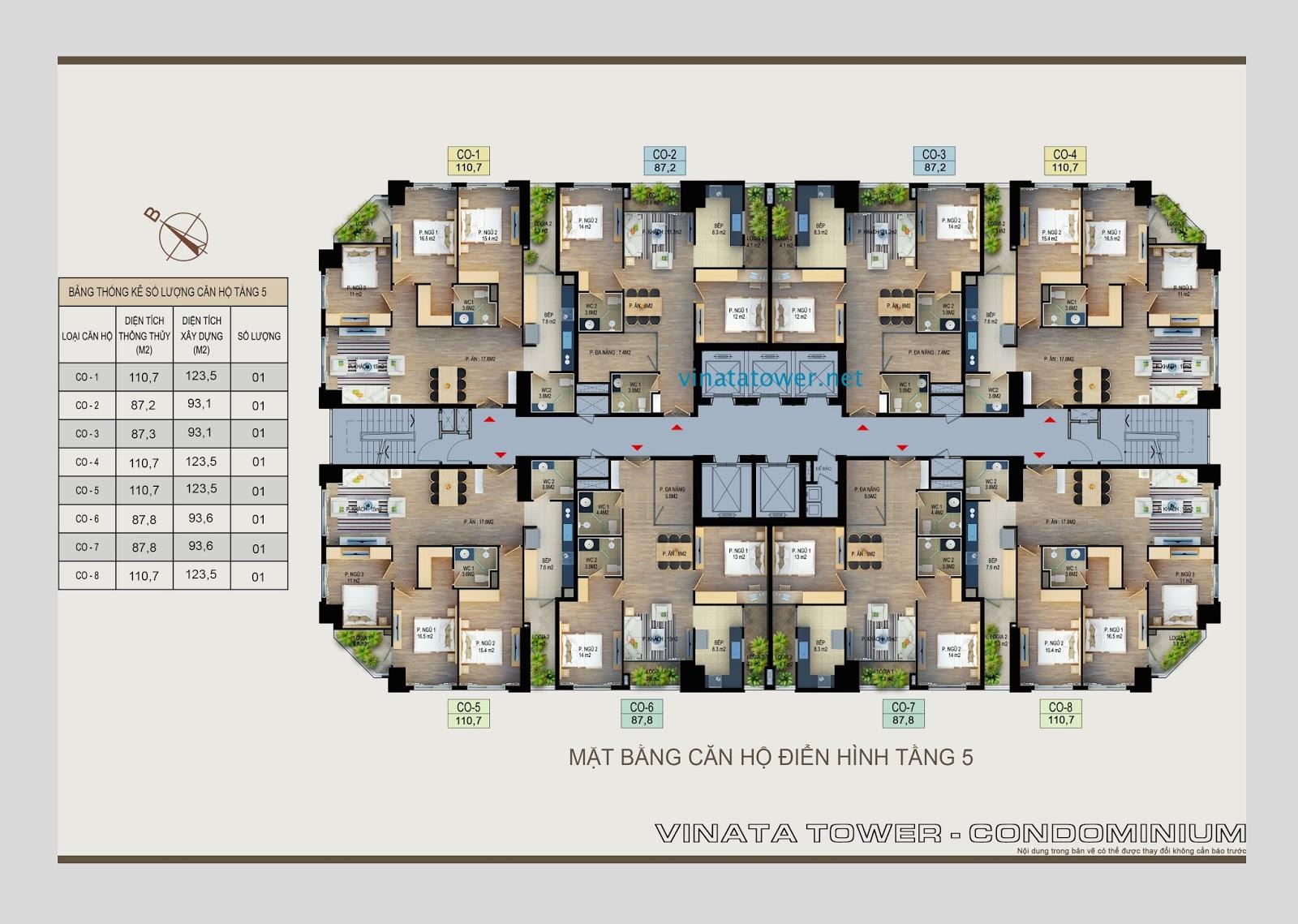 Mặt bằng căn hộ tầng 5 Vinata Towers