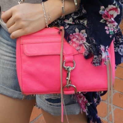 rebecca minkoff neon pink mini MAC bag with denim shorts | awayfromtheblue