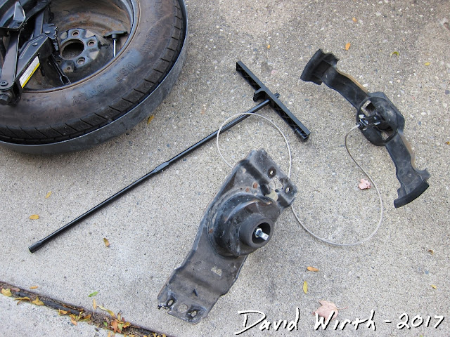 spare tire rod, cable, tire, van, minivan, how to, lower, raise, pole, butterfly