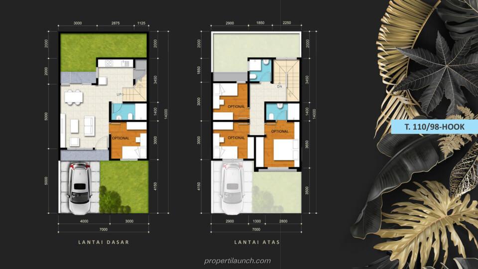 Denah Rumah Savia Park @ Nusa Loka BSD Tipe 110