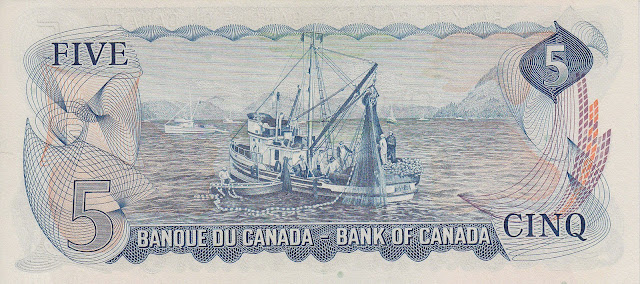 Canada money currency 5 Dollar Note 1972 Canada Salmon Fishing