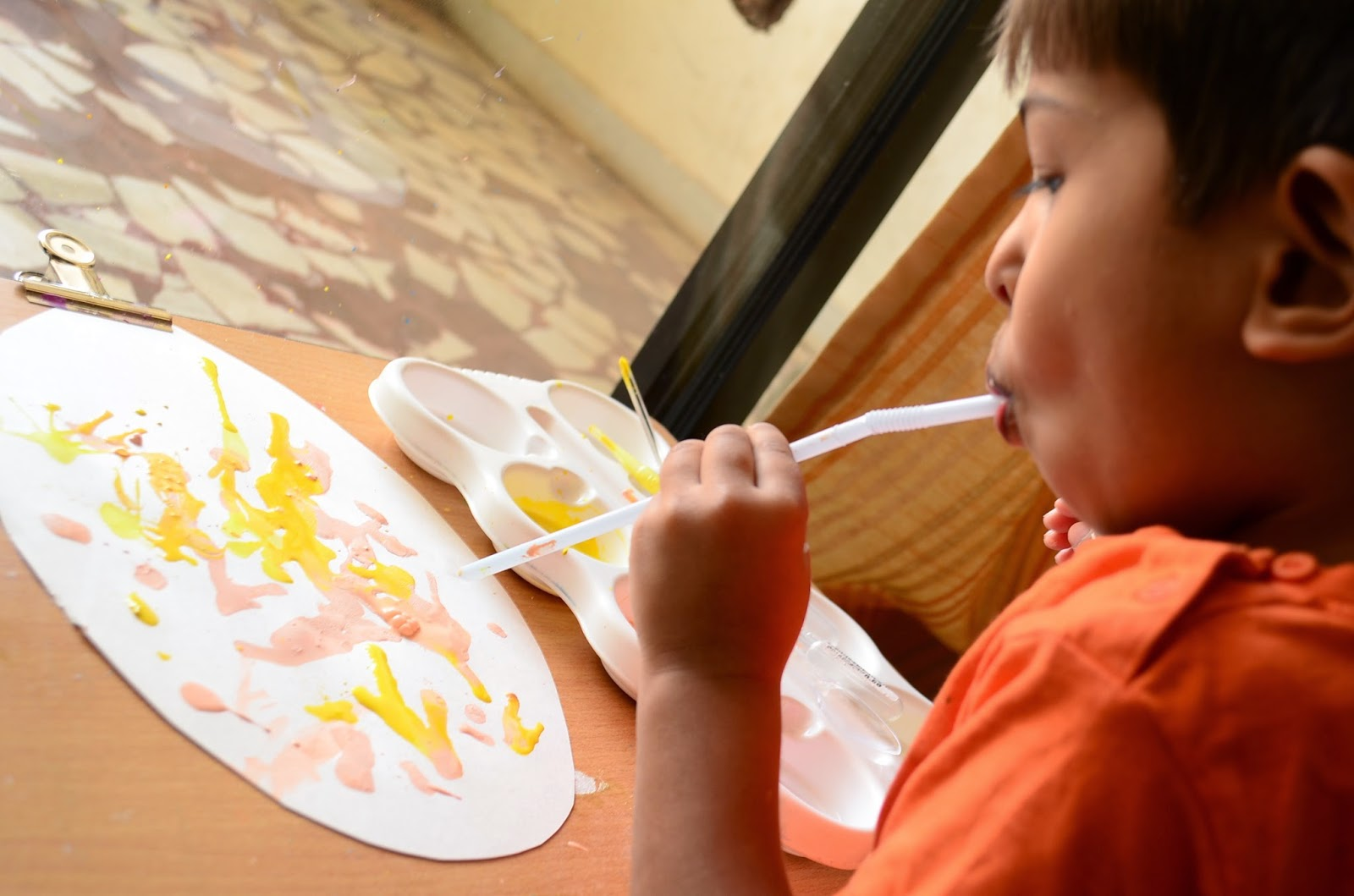 The Practical Mom: Easter Activity: Straw Blowing Paint