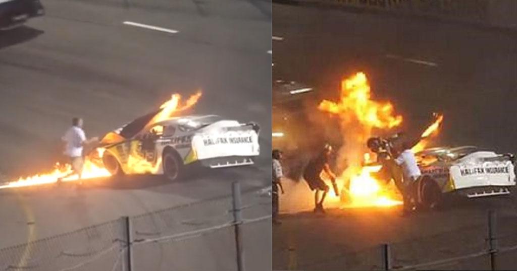 Πατέρας τρέχει και τραβάει τον γιο του μέσα από φλεγόμενο αγωνιστικό αυτοκίνητο