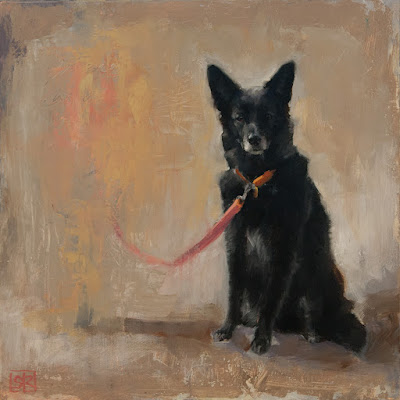 oil painting of a black dog, leashed and waiting by Shannon Reynolds
