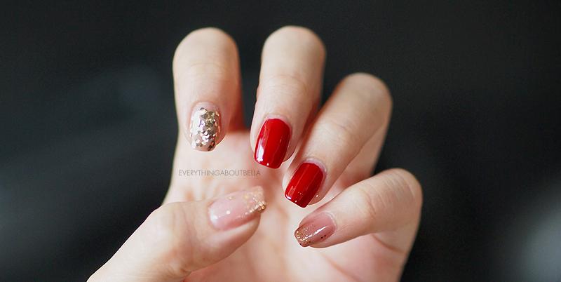 指甲:红色,粉红色裸色,闪光