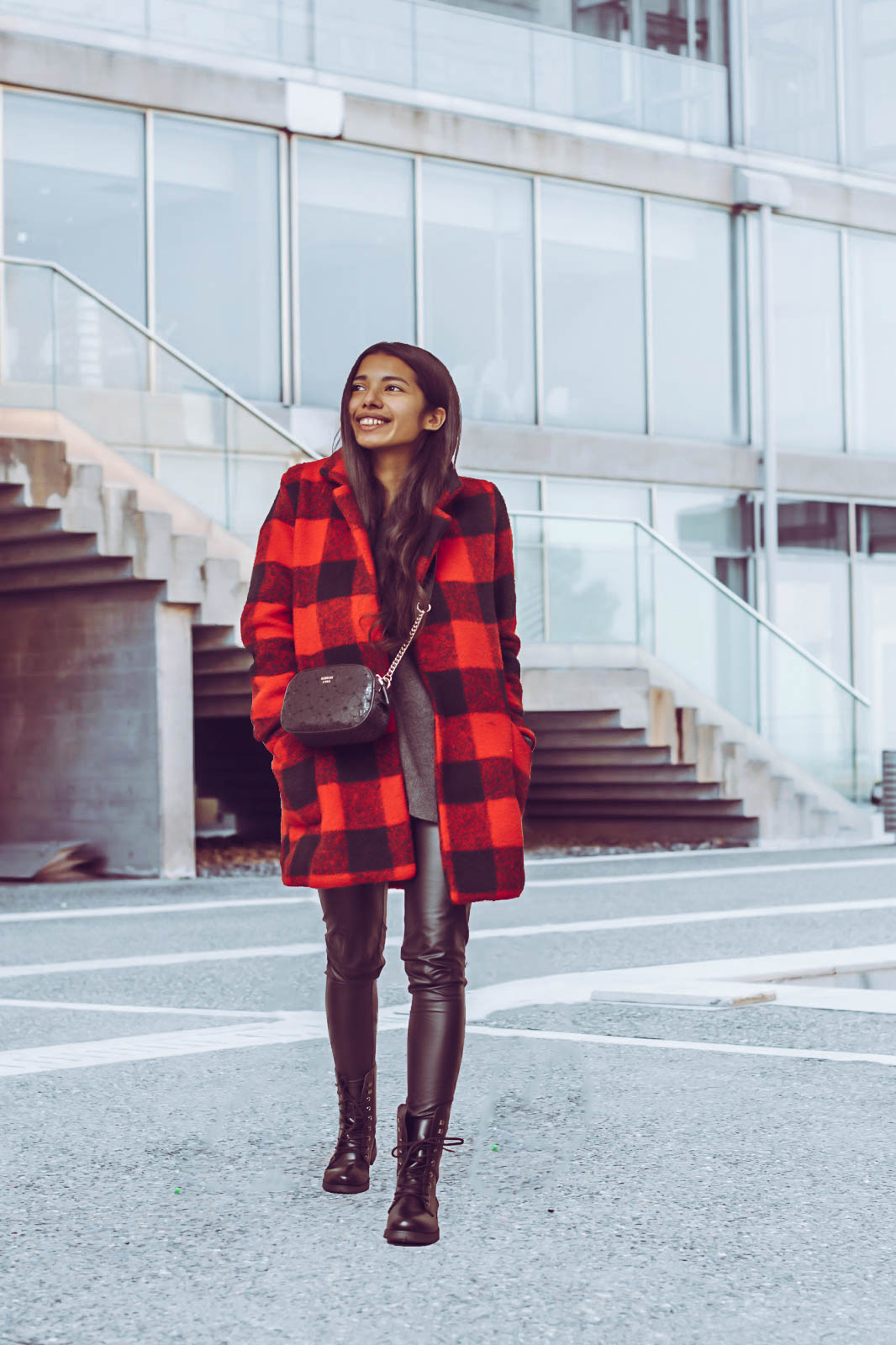 Guess bag- red wool plaid coat - leather boots outfit for winter kmeetsstyle