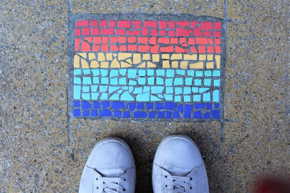 Pride rainbow tiles, Manchester - UK travel & lifestyle blog