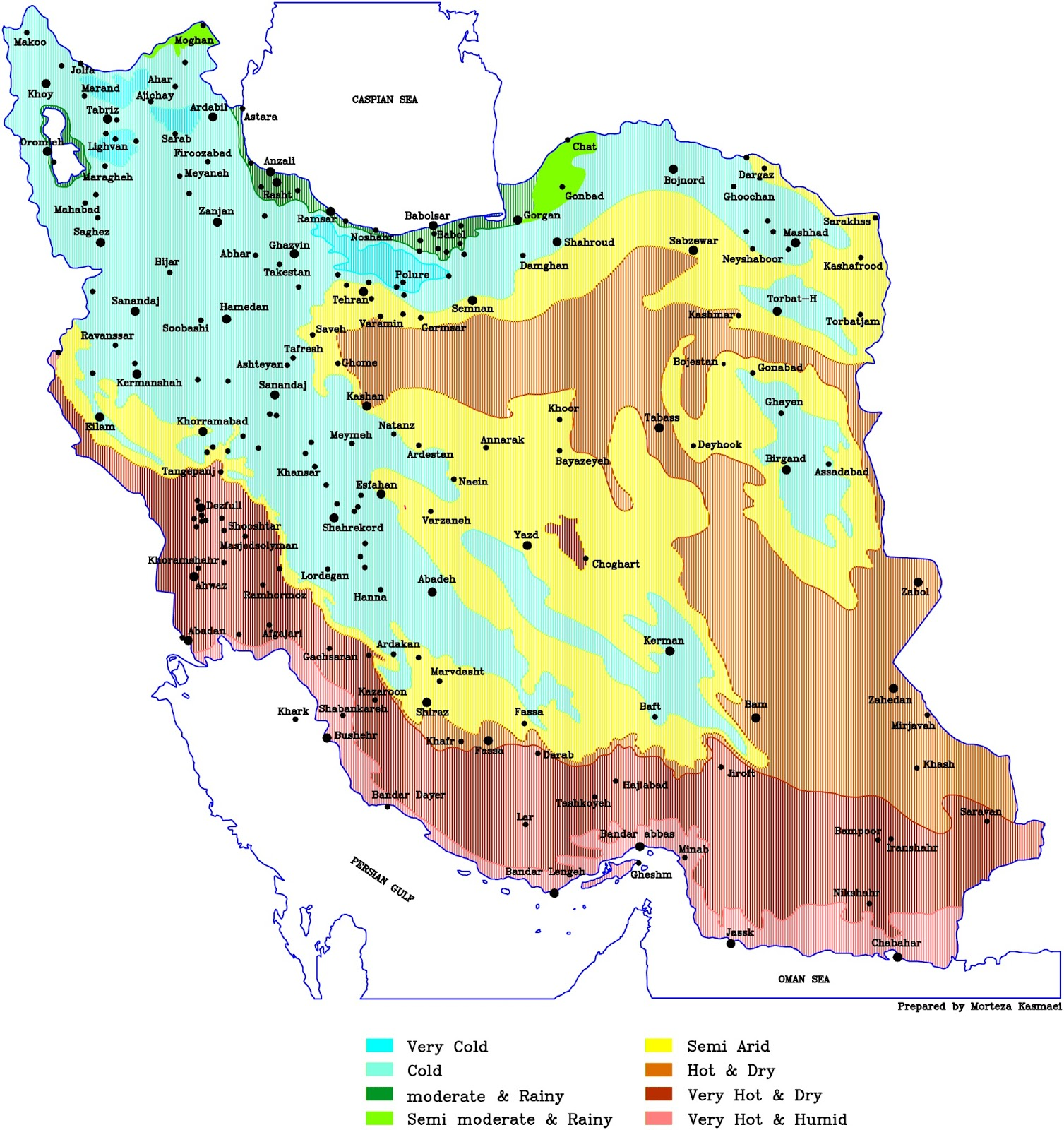 Climate zoning of Iran